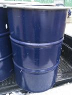 40 Gallon / 205 Litre, Steel Drum / Barrel, with Band-Clamp Lid, Blue
