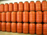30x 220 Litre, Screw Cap HDPE Barrel with Rubber Seal, Terracotta