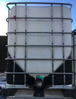 1000 Litre, Clear HDPE, V-HULL IBC Bulk Container, Square Bars, Plastic Base