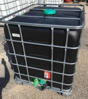 1000 Litre, DARK HDPE, IBC Bulk Container, Square Bars, Metal Base