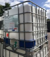 1000 Litre, Clear HDPE, IBC Bulk Container, Square Bars, Galvanised Steel Base