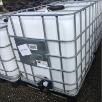 1000 Litre, Clear HDPE, IBC Bulk Container, Square Bars, Plastic Base