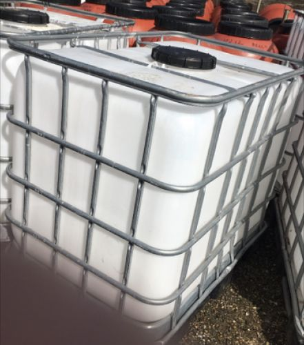 600 Litre , Clear HDPE, IBC Bulk Container, Square Bars, Plastic Base
